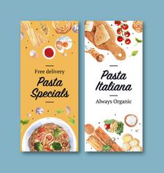 Pasta flyer design with cheese garlic watercolor vector