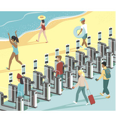 People moving from airport directly to beach vector