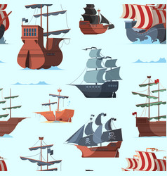 pirate ship pattern old shipping boat adventure vector image
