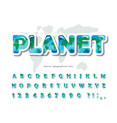 planet earth modern font paper cut out abc vector image
