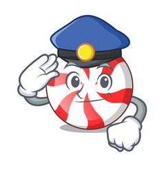 Police peppermint candy character cartoon vector