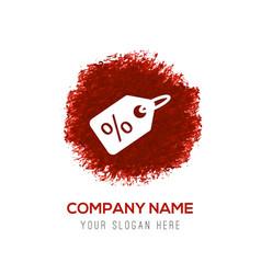 Price tag icon - red watercolor circle splash vector
