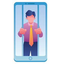 prisoner smartphone vector image