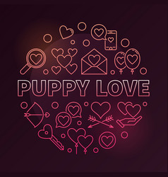 puppy love round colorful in vector image
