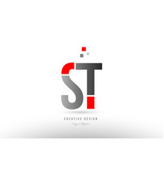 Red grey alphabet letter st s t logo combination vector