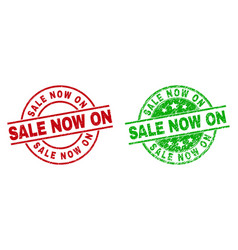 Sale now on round seals using unclean texture vector