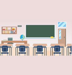 School classroom with furniture board desk empty vector