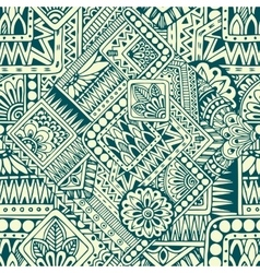 Seamless asian ethnic floral retro doodle pattern vector