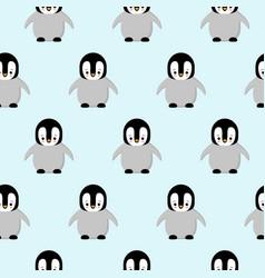 seamless pattern of cute cartoon penguin design vector image