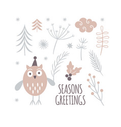 seasons greetings card design cute owl in hat vector image