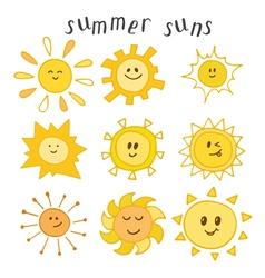 Set of cute summer suns Hand drawn smiley suns vector image vector image