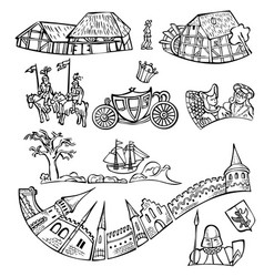 set of fairytale decorative elements isolated vector image