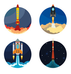 set of four with space rocket ship vector image