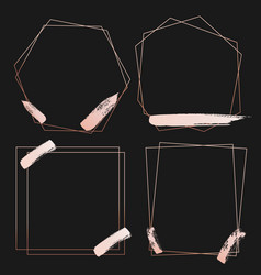 Set of geometric pink gold frame decorative vector