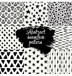 set of hand drawn design patterns vector image