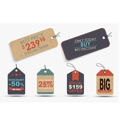 Set of retro price tags of different shapes vector image