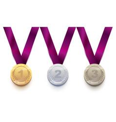 set sport medal 1 gold 2 silver 3 bronze vector image