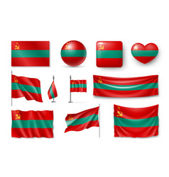set transnistria flags banners banners symbols vector image