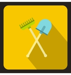 Shove and pitchfork icon flat style vector image