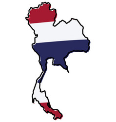 simplified map of thailand outline with slightly vector image
