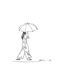 sketch walking girl with umbrella back view vector image
