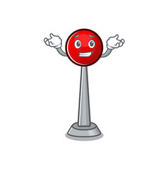 Super funny grinning antenna mascot cartoon style vector