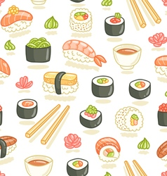 Sushi and rolls seamless pattern vector image