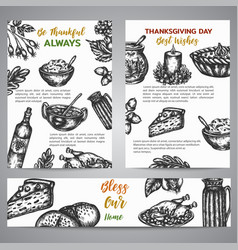 Thanksgiving day brochure collection hand drawn vector