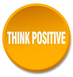 Think positive orange round flat isolated push vector