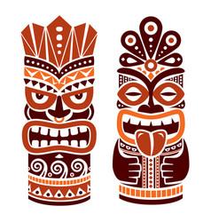tiki pole totem design in brown - hawaii vector image