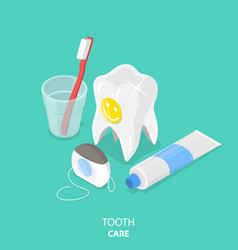 tooth care flat isometric vector image