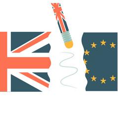 united kingdom and eu broken on two halves vector image