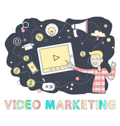 video marketing person screen vector image