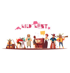 wild west cartoon background vector image
