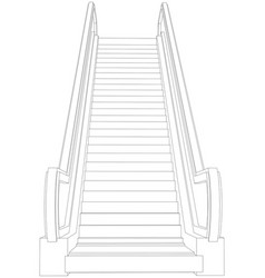 Wire-frame escalator front view vector