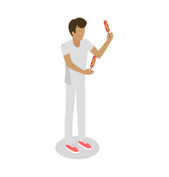 Young boy isolated holding two hot dogs on sticks vector