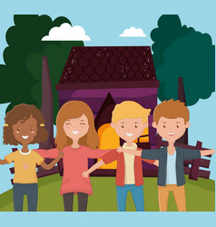 young people hugging cottage country outdoor scene vector image