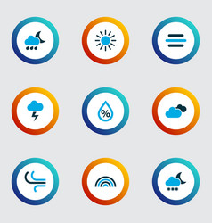 Air icons colored set with overcast snowfall vector