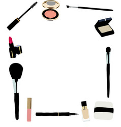 Makeup and cosmetics frame vector image vector image