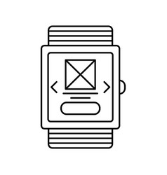smart watch outline icon isolated lined vector image vector image