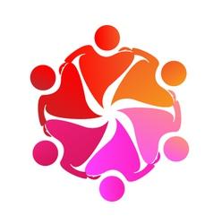 Teamwork hug love logo vector image vector image