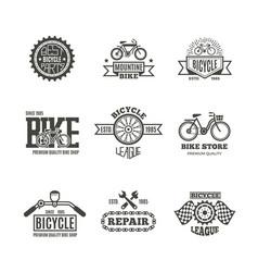 bike shop bicycle biking vintage labels vector image