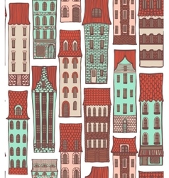colored city background with cute houses vector image