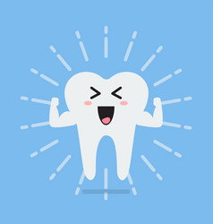 happy healthy and strong tooth vector image