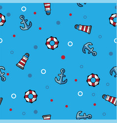 pattern sea lighthouse lifebuoy and anchor on vector image vector image