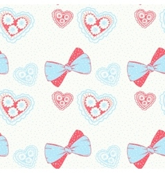 Seamless pattern with hand drawn bows and hearts vector image vector image