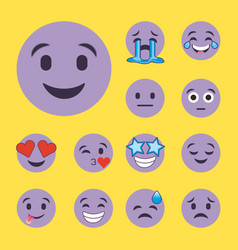 set of purple smiles emoji cartoon character faces vector image
