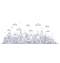 thin line style city panorama of vector image