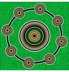 Aboriginal art background green vector