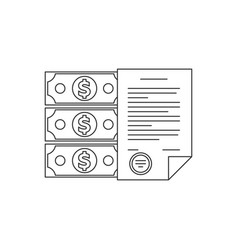 contract and money line icon vector image